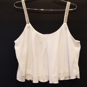 Charlotte Russe Beaded Strap Tank Top White  XL